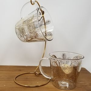 Starbucks glass with gold Tea Cup, Coffee Cups Set